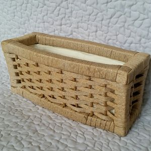 Vintage Tan Woven Wicker Bin Lined Basket Boho